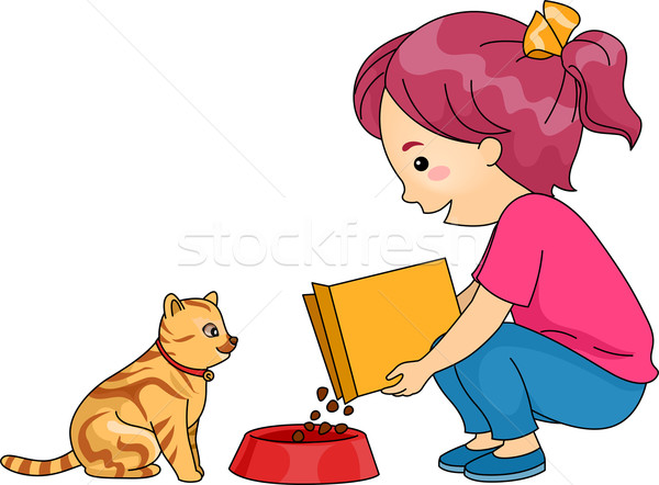 Girl Feeding Cat Stock photo © lenm