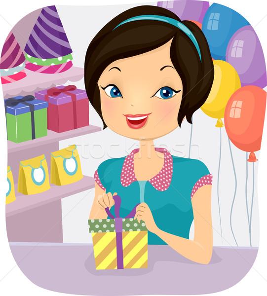 Shop Attendant Girl Stock photo © lenm