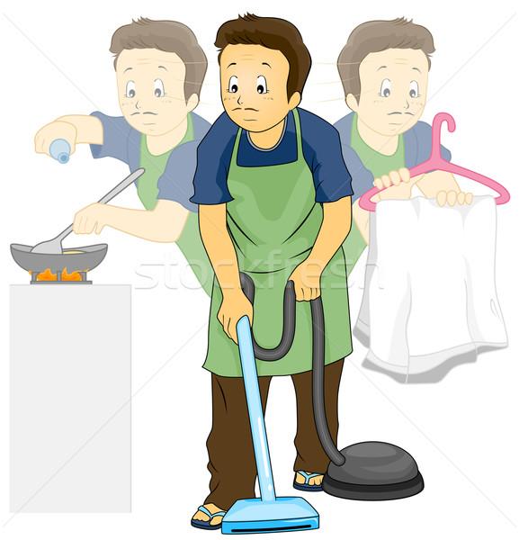 домашнее хозяйство работа по дому иллюстрация человека приготовления мужчины Сток-фото © lenm