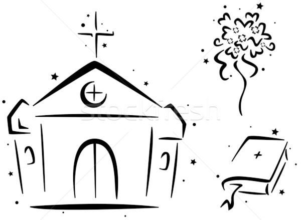 結婚式 ステンシル チャペル 聖書 花束 花 ストックフォト © lenm