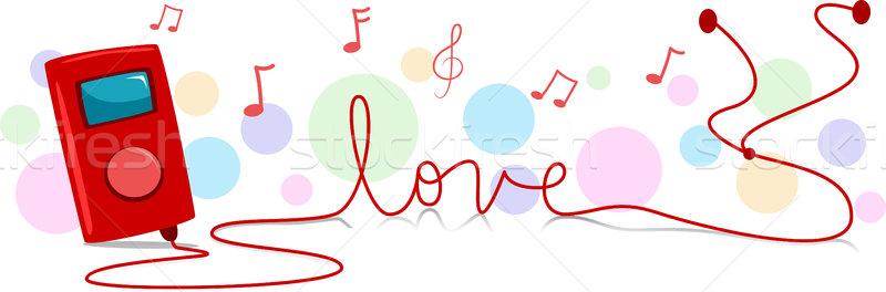 Zenelejátszó illusztráció kábel szó szeretet digitális Stock fotó © lenm