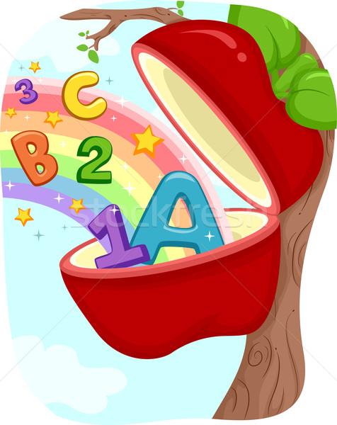 ストックフォト: リンゴの木 · 実例 · リンゴ · 番号 · 文字 · 読む