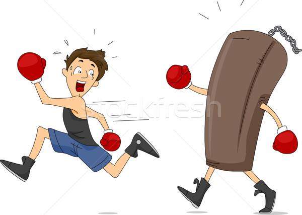 Homokzsák illusztráció férfi vicces férfi boxoló Stock fotó © lenm