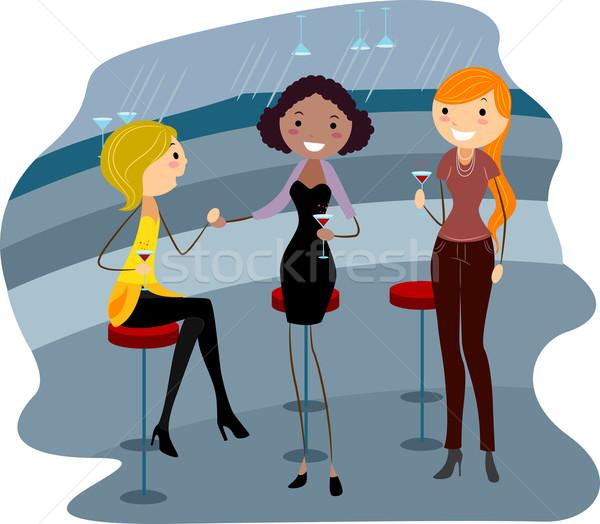 Bár buli illusztráció nők megnyugtató koktél Stock fotó © lenm