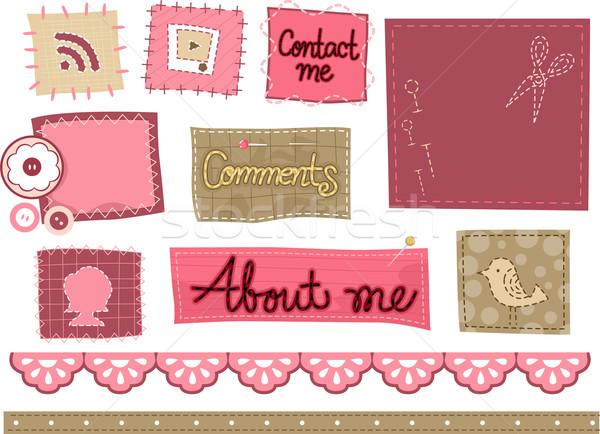 Iconos de la web ilustración puntada diseños diseno Foto stock © lenm