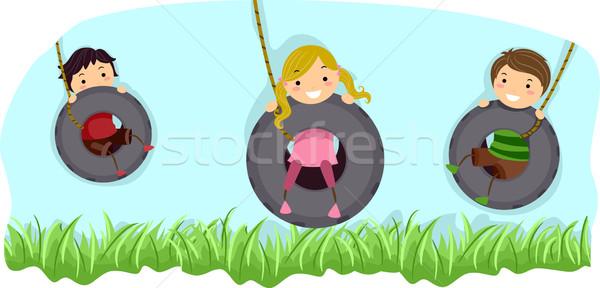 Pneu balançar ilustração crianças equitação criança Foto stock © lenm