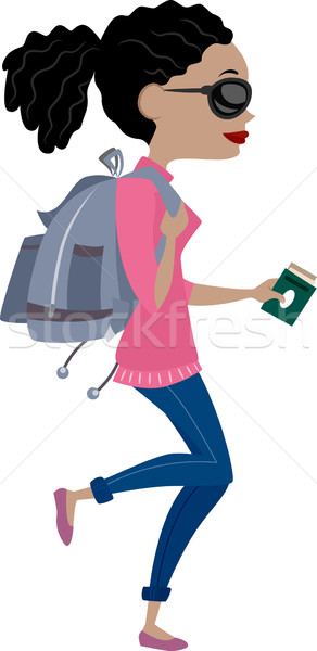 Girl Traveling with Backpack Stock photo © lenm