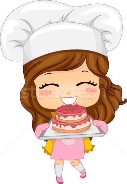 Little Girl Baking Cake Stock photo © lenm