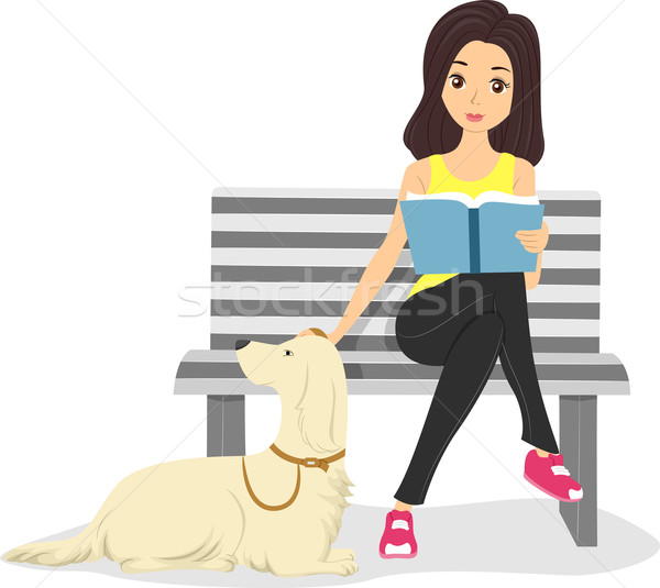 Girl with Pet Stock photo © lenm