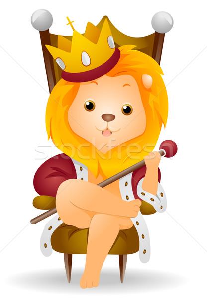 Koning leeuw dier vergadering cute Stockfoto © lenm