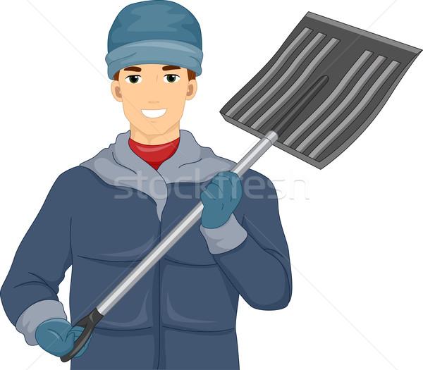 Snow Shovel Man Stock photo © lenm