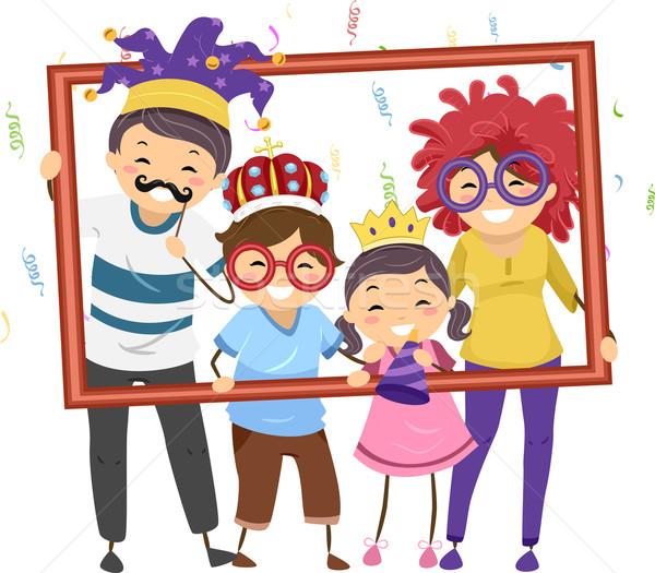 семьи вечеринка кадр иллюстрация костюмы Сток-фото © lenm