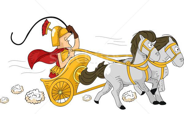 Romano biga ilustração homem condução soldado Foto stock © lenm
