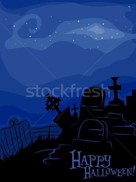 Kerkhof silhouet Blauw ontwerp behang vakantie Stockfoto © lenm