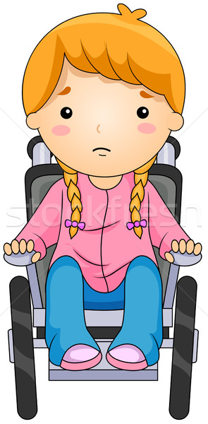 Kid коляске иллюстрация девушки ребенка инвалидов Сток-фото © lenm