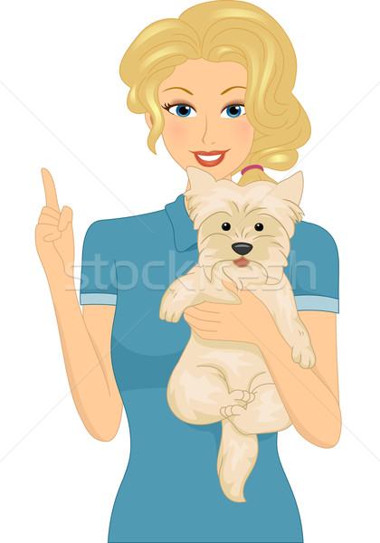 Köpek örnek kadın dışarı sanat Stok fotoğraf © lenm