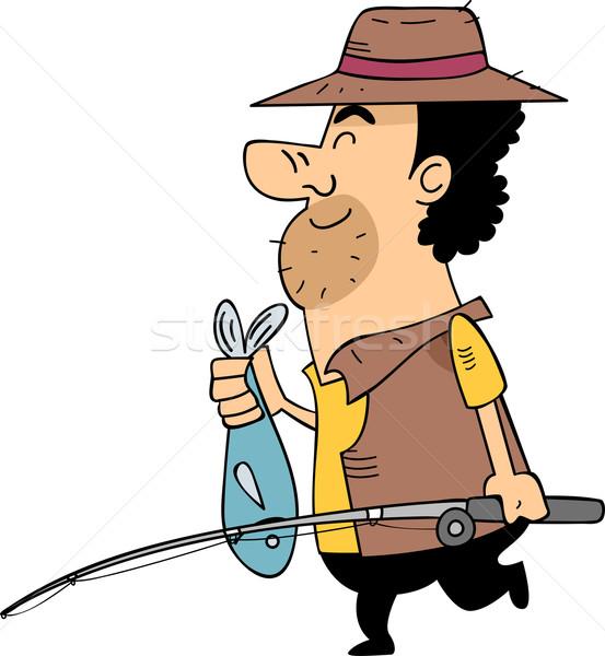 Halászat zsákmány illusztráció férfi viselet hordoz Stock fotó © lenm
