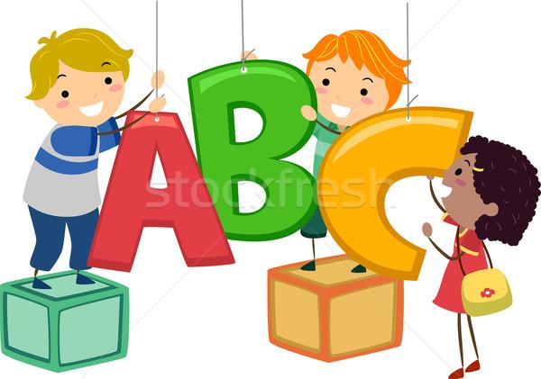 Gyerekek dekoráció illusztráció akasztás forma levelek Stock fotó © lenm