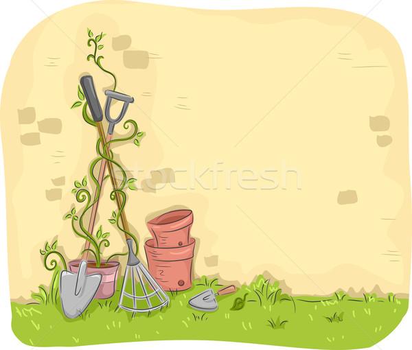 Ogród narzędzia ściany ilustracja trawy Zdjęcia stock © lenm