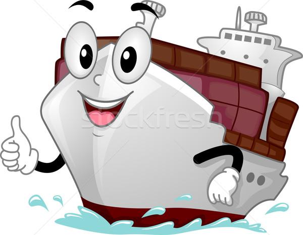 Zdjęcia stock: Maskotka · statek · towarowy · ilustracja · sztuki · statku