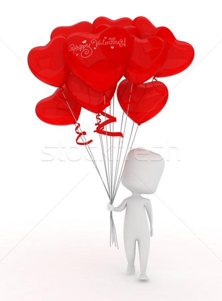 Valentijn ballonnen illustratie man bos Stockfoto © lenm