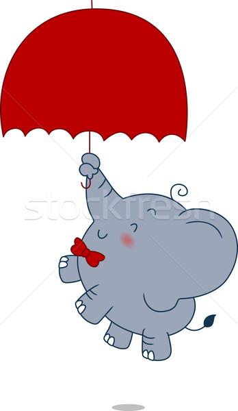 Zuhan illusztráció elefánt állat esernyő ősz Stock fotó © lenm