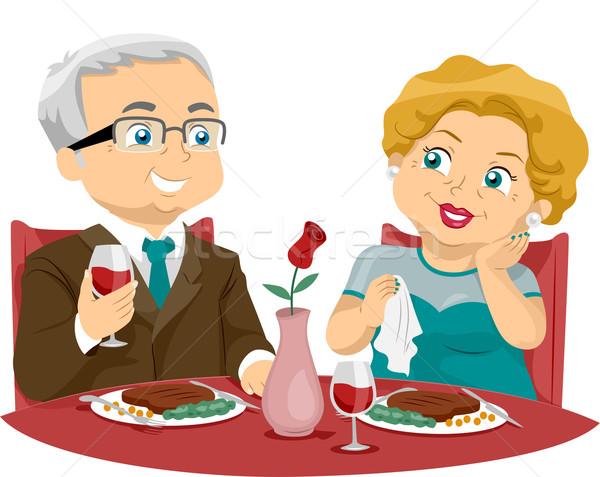 Fine dining illustratie ouderen paar eten Stockfoto © lenm