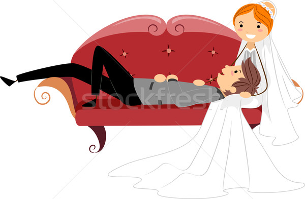 Newlyweds Resting on a Couch Stock photo © lenm