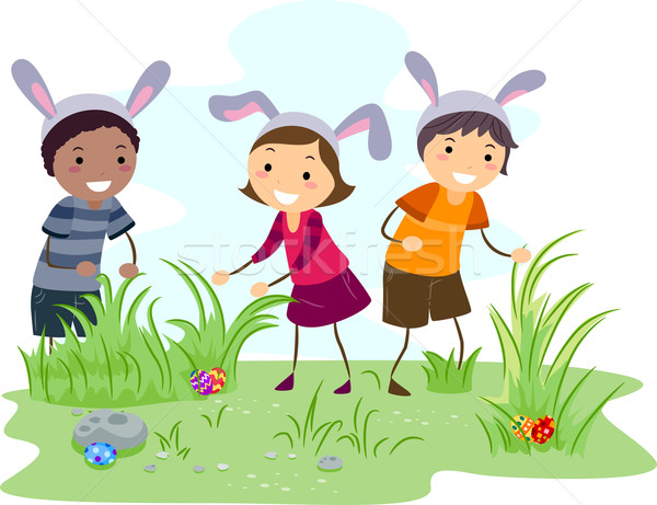 Easter egg hunt illustration enfants Pâques enfants garçon Photo stock © lenm