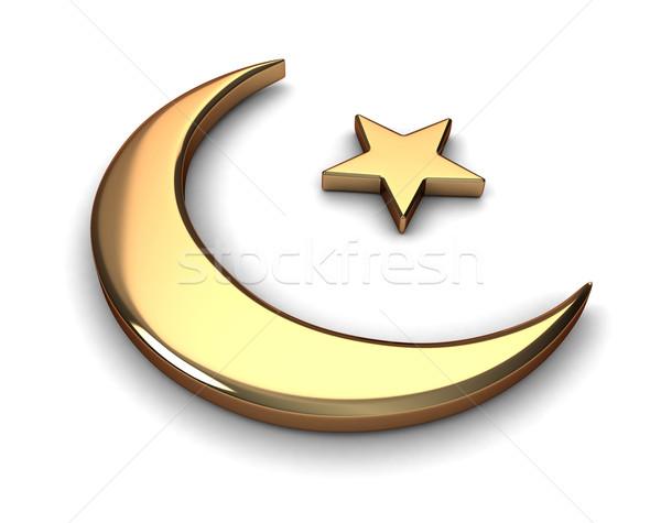 Islam 183 3d 183 Mond 183 Sterne 183 Karikatur 183 Religion Stock