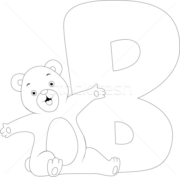 Coloring Page Bear Stock photo © lenm