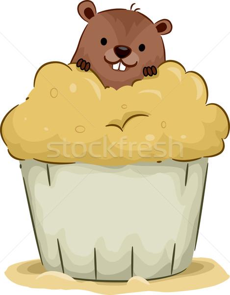 Groundhog Cupcake Stock photo © lenm