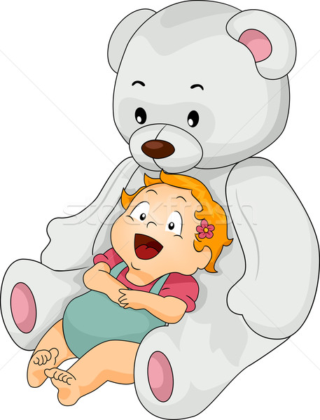 Baby Girl with Big Toy Bear Stock photo © lenm