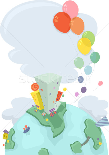 Urban Earth with Balloons Stock photo © lenm