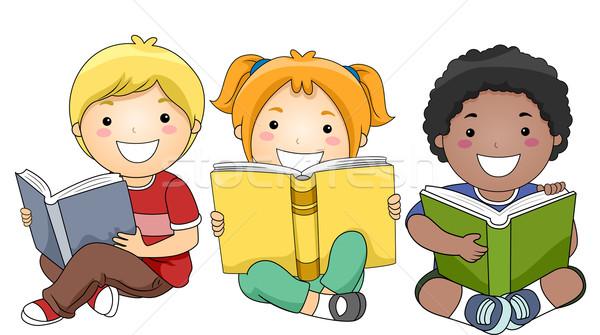 Stockfoto: Kinderen · lezing · boeken · illustratie · gelukkig · vergadering