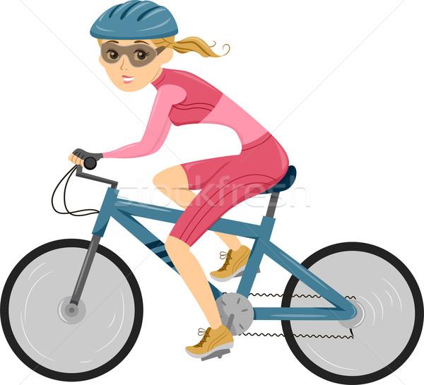 Menina ciclismo triathlon ilustração equitação bicicleta Foto stock © lenm