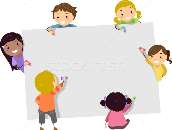 Stickman Kids with Crayons and Blank Board Stock photo © lenm