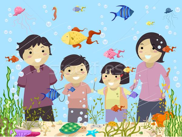 Familie naar aquarium illustratie kinderen kind Stockfoto © lenm