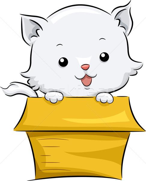 Katze Verabschiedung Feld Illustration cute weiß Stock foto © lenm