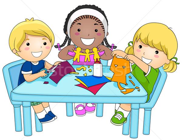 子供 紙 少人数のグループ 少女 子供 ストックフォト © lenm