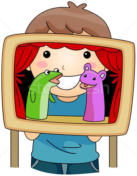 Marionnette montrent illustration Kid hébergement enfant Photo stock © lenm