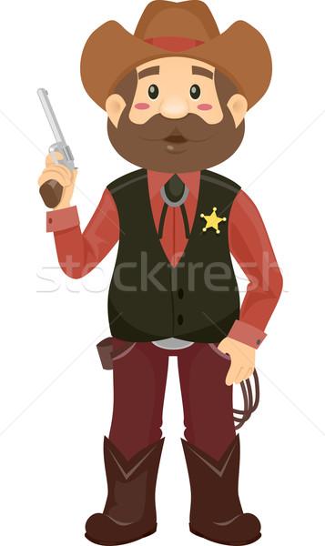 Sheriff férfi illusztráció visel jelmez tart Stock fotó © lenm
