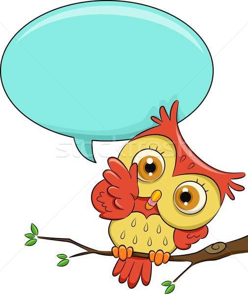 Owl Speech Bubble Stock photo © lenm