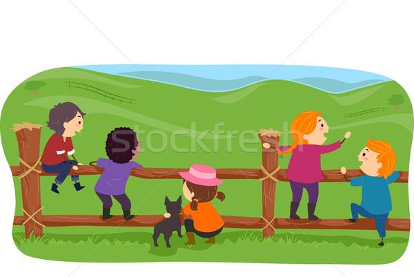Stickman Farm Kids Stock photo © lenm