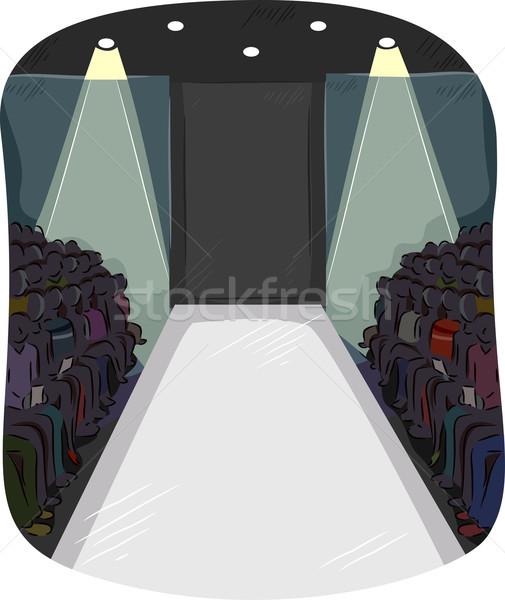 Kifutópálya színpad közönség illusztráció divat körül Stock fotó © lenm