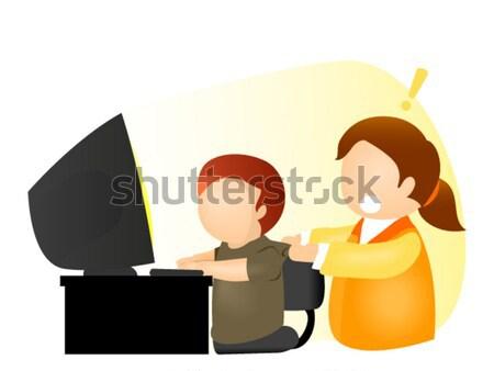 Adolescentes computador ilustração adolescente estudantes informática Foto stock © lenm