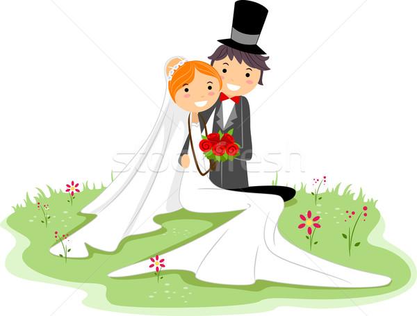 Foto stock: Casamento · pose · ilustração · recém-casado · casal · sessão