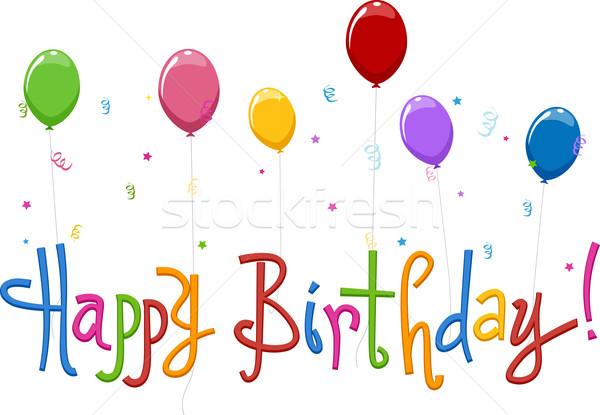 Boldog születésnapot szöveg szavak buli léggömbök ünneplés Stock fotó © lenm