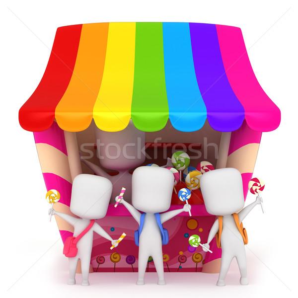 Cukorka gyerekek 3d illusztráció tart cukorkák gyerekek Stock fotó © lenm