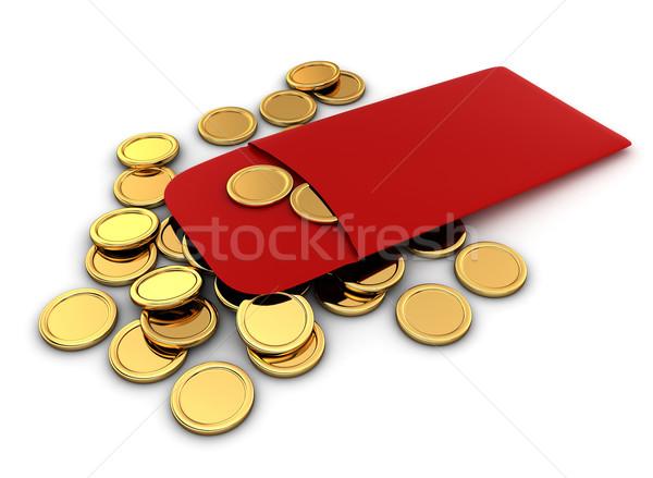 Kínai új év érmék 3d illusztráció piros boríték ünnep Stock fotó © lenm